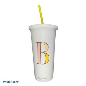 """Kate Spade New York """"B"""" Initial Tumbler With Straw"""